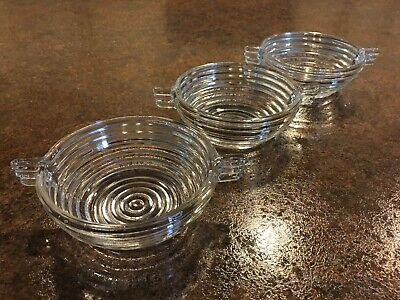 "Lot of 3 Vintage Clear MANHATTAN DEPRESSION GLASS 4 1/2"" Berry Bowls"