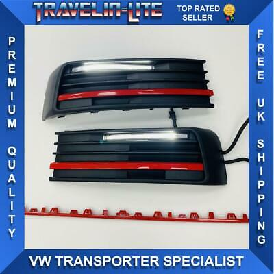 VW T6 DRL Kit With Red Styling Trim 3pcs For Lower Grilles Transporter 2015 On