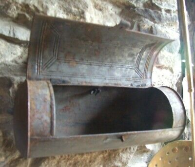 Antique Welsh metal CANDLE BOX hanging pressed tin cylinder