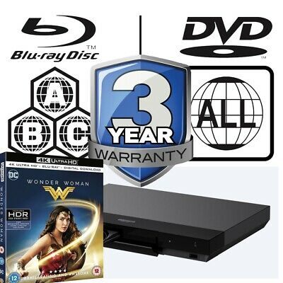 Sony UBP-X700 All Zone Code Free MultiRegion 4K Player inc Wonder Woman UHD Disc