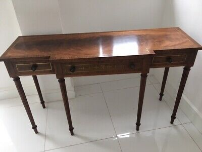 ANTIQUE MAHOGANY Console Table with Drawers and Brass Inlay
