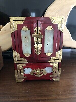 Vintage Chinese Rosewood & Brass Jewelry Box With Lock And Key