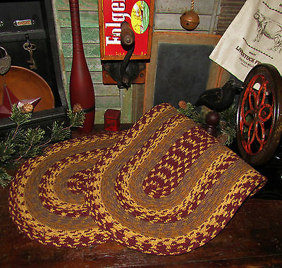 "Primitive Natural Cotton Braided 36"" TABLE RUNNER Trivet/Placemat Oval #341"