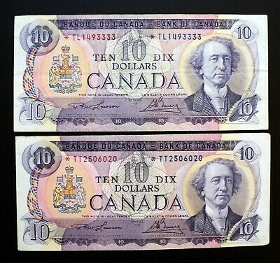 1971 BANK OF CANADA $10 Dollars Set of 2 Replacement Notes *TL and *TT (( VF+ ))