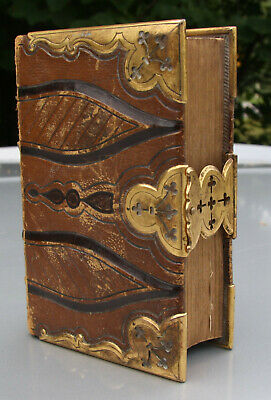 Antique 1857 leather Bible Church Services CLASPS & CORNERS