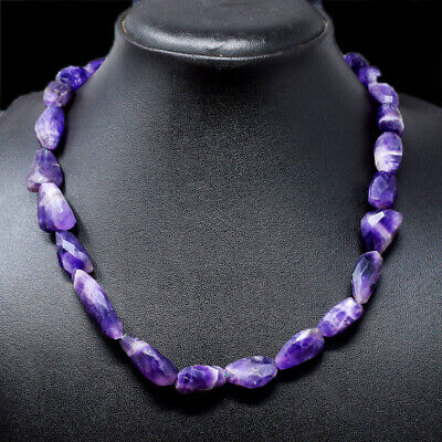 310.00 Cts Natural 20 Inches Long Purple Amethyst Faceted Beads Necklace NK 29A4