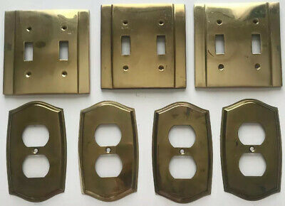 Set of 7 Vintage Ornate Gold Brass Metal Light Switch Outlet Wall Cover Plates