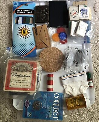 Vintage Junk Drawer Lot Matches Bar Coasters Novelties Keurig Filters Cable Ties