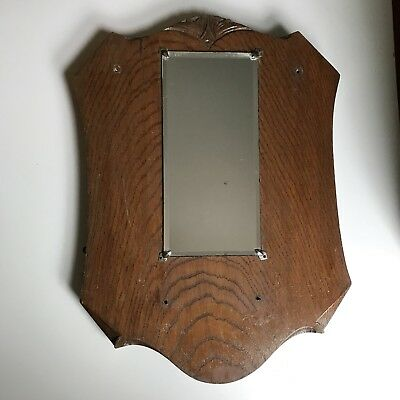 Vintage Mirror Wall Hanging Oak Frame Bevelled Glass Shield Shaped H43xW31cm