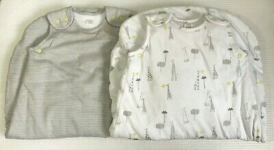 M174 Mothercare 2 Pack Giraffe and Stripe Sleep Bags 2.5 tog 0-6 months