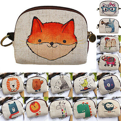 Women Ladies Small Linen Credit Card Holder Coin Zip Purse Animals Mini Wallet
