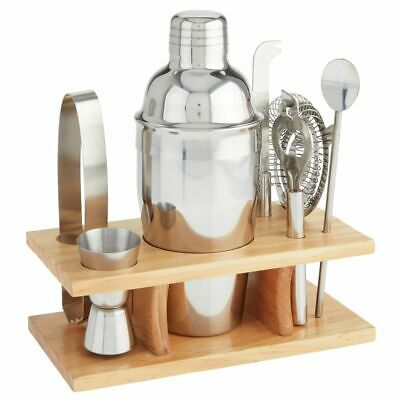 mDesign 8 Piece Cocktail Shaker Bartender Set, Polished Stainless Steel/Bamboo