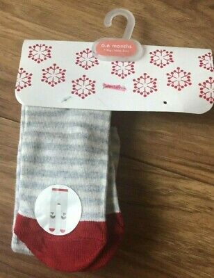 John Lewis Baby Cotton Rich Christmas Pudding Tights  /Multicoloured  0-6 Mths