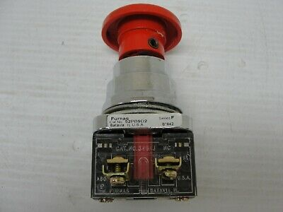 USED FURNAS Push Button Stop Switch 52PB9D2 w/ 52BAJ NC Contact Block.