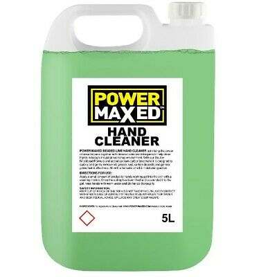5L Hand Cleaner 5 Litres Lime Beaded Concentrate Oil Remover Power Maxed HC5000