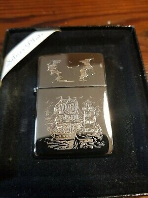 ZIPPO LIGHTER SILVER PLATE GOLD INLAY  veliero Nuovo accendino