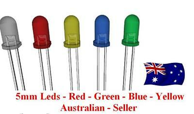 5mm - Leds x 25 Pcs - Red, Green, Blue, Yellow, Orange.