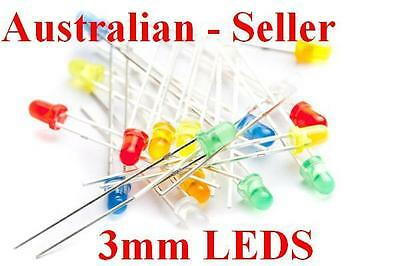 3mm Leds, 25Pcs of Either - Red-Blue-Green-Orange-Yellow,
