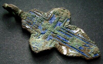 ANCIENT BRONZE ENAMEL CROSS. RELIGIOUS ARTIFACT 18 - 19 CENTURY. 43 mm. (R.070)