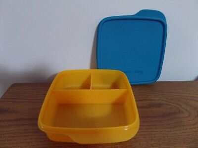 Tupperware Divided Lunch-It Dish Lunch Container ~ Papaya/Peacock ~ NEW