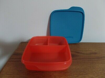 Tupperware Divided Lunch-It Dish Lunch Container ~ Hot Pepper/Peacock ~ NEW