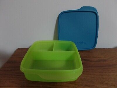 Tupperware Divided Lunch-It Dish Lunch Container ~ Salsa Verde / Peacock ~ NEW