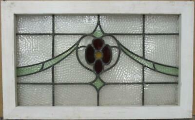 "OLD ENGLISH LEADED STAINED GLASS WINDOW TRANSOM Pretty Floral Swag 27"" x 16.75"""