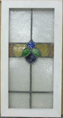 "MIDSIZE OLD ENGLISH LEADED STAINED GLASS WINDOW Colorful Band Design 14"" x 26.5"""