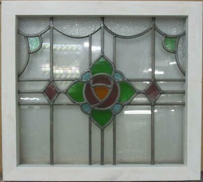 "OLD ENGLISH LEADED STAINED GLASS WINDOW Gorgeous Mackintosh Rose 21"" x 19"""