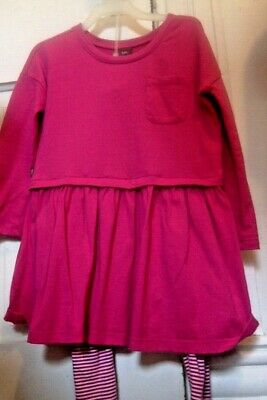 Tea Collection long sleeve dress with matching striped leggings EUC size 4