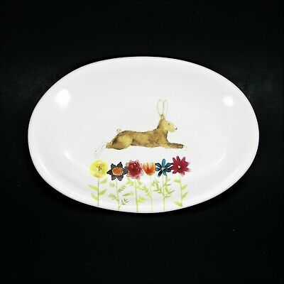 Rae Dunn Bunny And Flowers Plate Easter Rabbit Dish Oval Trinket Tray by Magenta