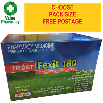 New Trust Fexofenadine 180mg Tablets Same As Telfast. Choose Your Pack Size
