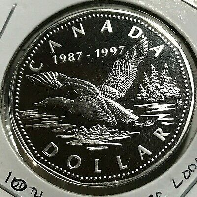 1997 Canada Silver Proof Looney 10Th Anniversary Commemorative Sterling Crown