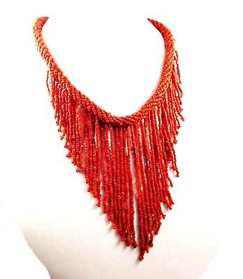 Vintage Style Boho Treated Coral Beads Thread Necklaces Jewelry W12 (23)