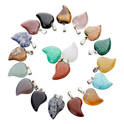 Wholesale Natural Love Heart-shaped Crystal Quartz Mixed Stone Pendant 25pcs/lot
