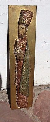 VTG Christmas KING Hand Carved Wood Wall Decor Hand Painted Figure GOLD ITALY