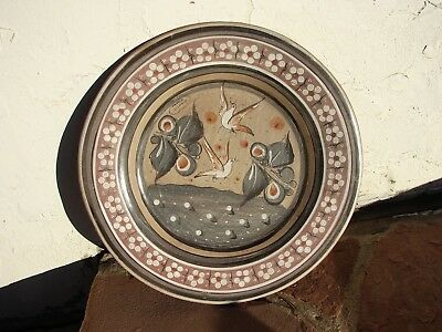 "VTG Tonala MEXICO Pottery Charger HANGING 15"" Plate SIGNED S.CAMPE WHITE Doves"