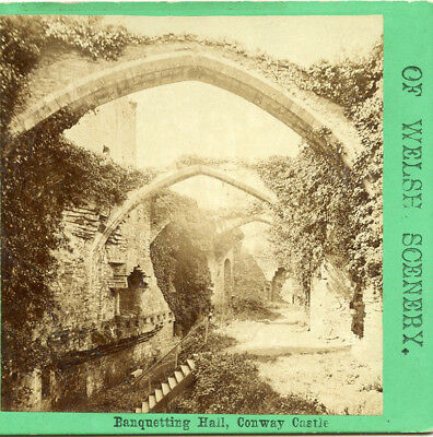Oct 12 1869 Visit Abbie S. Weld Banquetting Hall Conway Castle Wales Stereoview