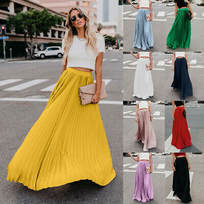 Womens Fashion High Waist Fold Soild Vintage Loose Beach Wrap Maxi Long Skirt CA