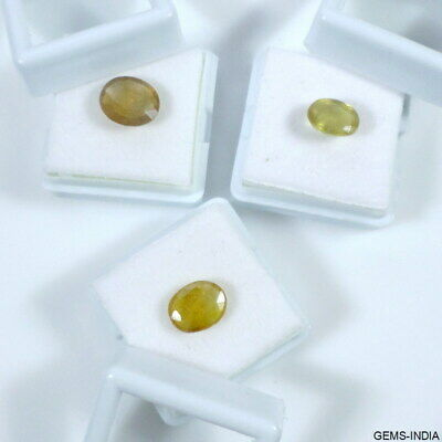 9.40 Cts/3 Pc Natural Untreated Yellow Sapphire Oval Faceted Gems For Ring Size