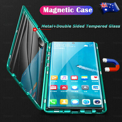 For Samsung Note 10 8 9 S10 Plus 5G Magnetic Metal Case Double Sided Glass Cover