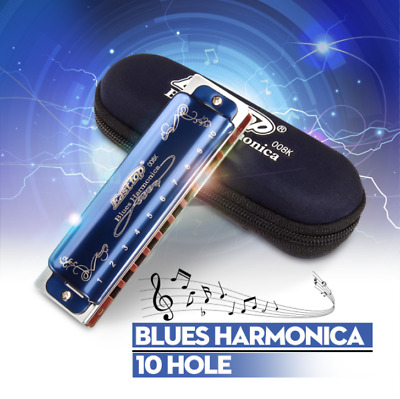 Portable Easttop T008K 10 Hole Professional Blues Harmonica Key For Beginner