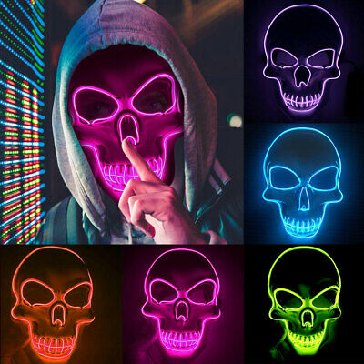 Light Up LED Skeleton Mask Costume Halloween Rave Cosplay Party Clubbing Mask AC