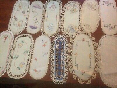 12 Vintage Embroidered Sandwich Tray Doilies, Crinoline Lady Etc GC