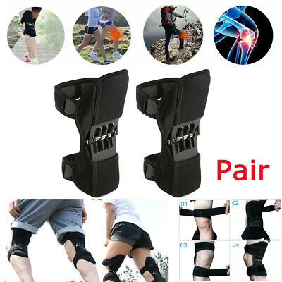 2x Power Lift Joint Support Knee Brace Pad Rebound Spring Force Running Knee Pad