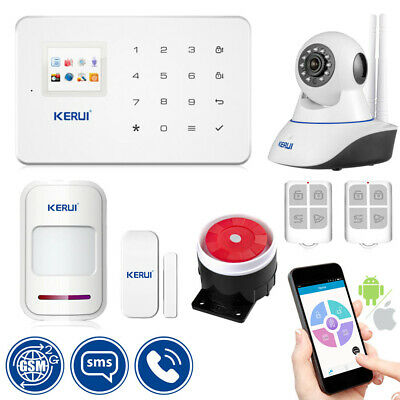 APP Control Wireless GSM SMS Home Security Alarm System Kit 720P IP Camera