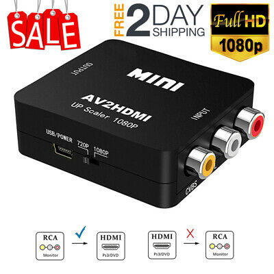 AV RCA to HDMI Converter Composite CVBS Video Adapter 1080p HD for Wii SNES TV