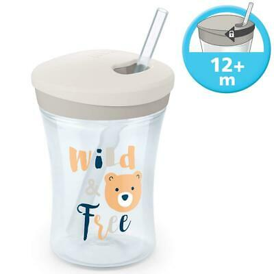 NUK Action Cup Toddler Cup, Twist Close Soft Drinking Straw, Weiß (Neu)