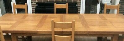 Solid Oak Dining Table and Chairs - Used Condition
