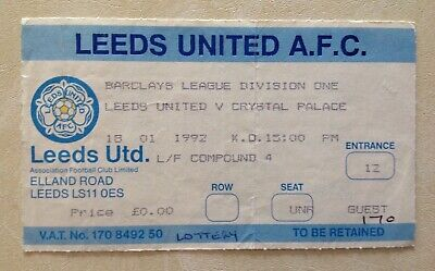 Leeds United v Crystal Palace Used Ticket Stub Barclays Division 1 18/01/92